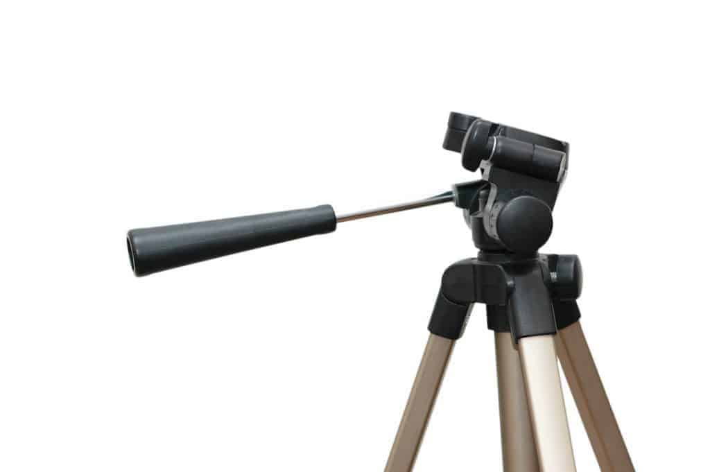 A camera tripod without a camera for working out how to mount a telescope on a camera tripod