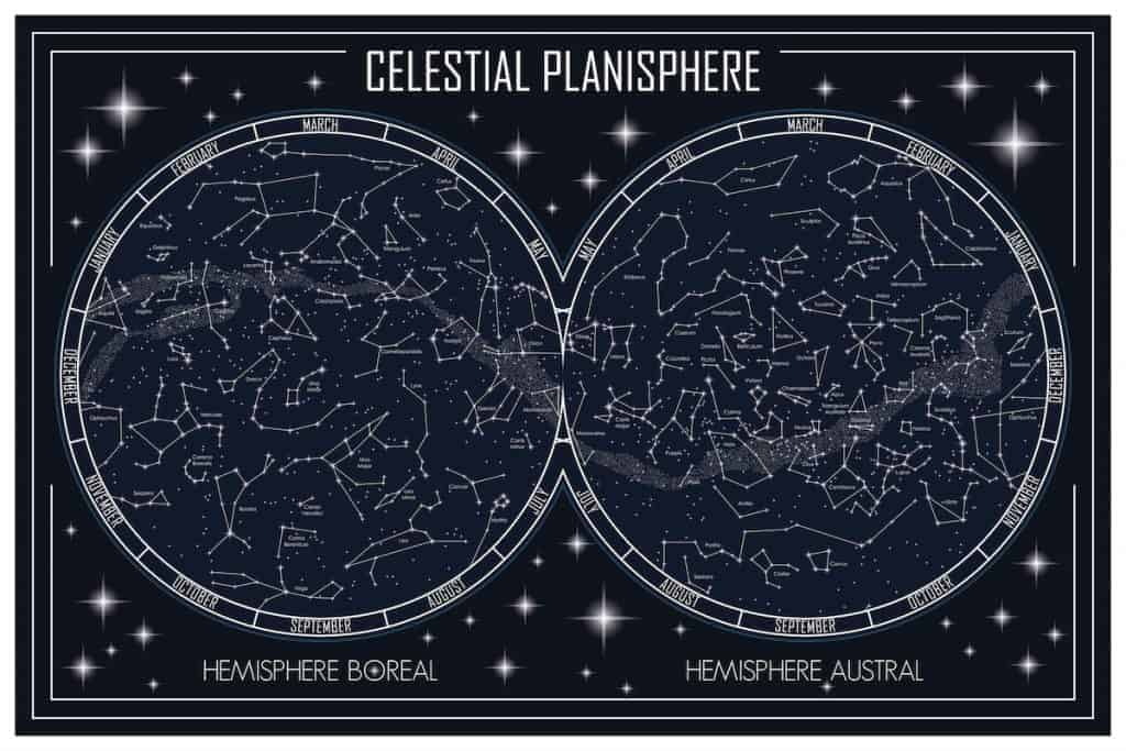 star charts for beginners, celestial planisphere