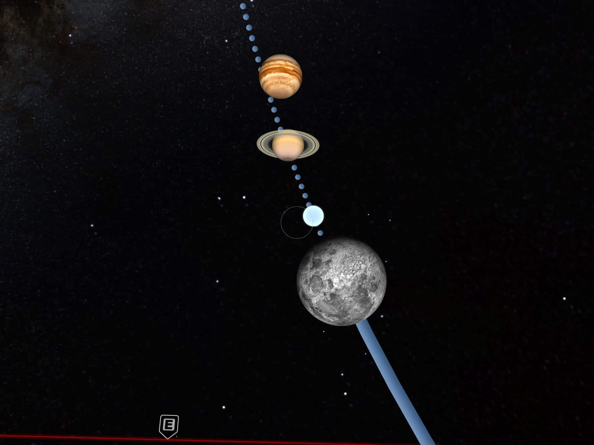 Planets on the ecliptic, Saturn Jupiter near the Moon